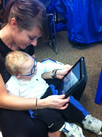 Child learning from iPad