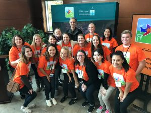 """Speech-language graduate students, undergraduates, and two clinical professors volunteered at the Dane County Regional Airport at the Wings for All event! Wings for All gives individuals with developmental disabilities a """"dress rehearsal"""" of the airport and flying experience."""