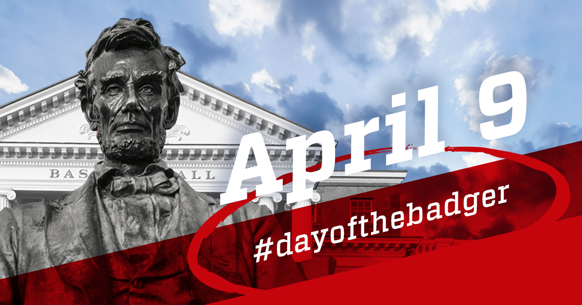 Statute of Abraham Lincoln in front of Bascom Hall. Day of the Badger.
