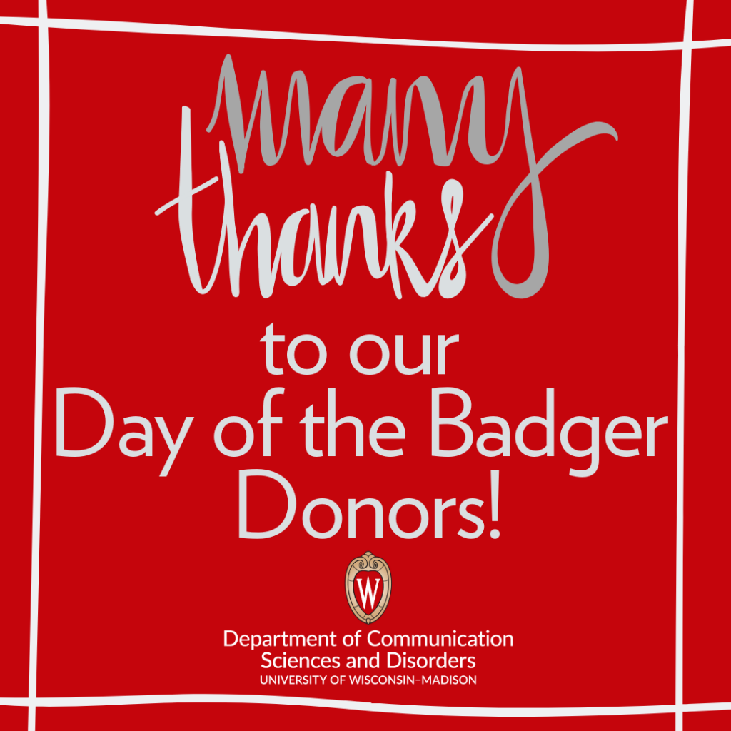 Thank you graphic from Day of the Badger. Many thanks to our Day of the Badger Donors!